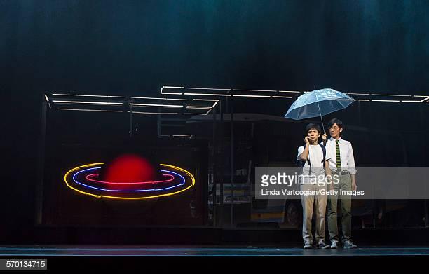 Japanese actors Nino Furuhata and Naohito Fujiki perform at a photo call for the Ninagawa Company production of Haruki Murakami's 'Kafka on the...