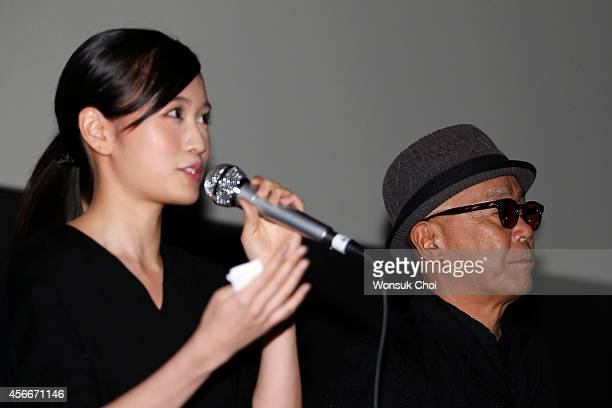 Japanese actress Atsuko Maeda and director Ryuichi Hiroki attend the stage greeting of the movie 'Kabukicho Love Hotel' on the fourth day of the 19th...