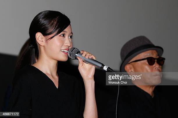 Japanese actress Atsuko Maeda speaks during the stage greeting of the movie 'Kabukicho Love Hotel' on the fourth day of the 19th Busan International...