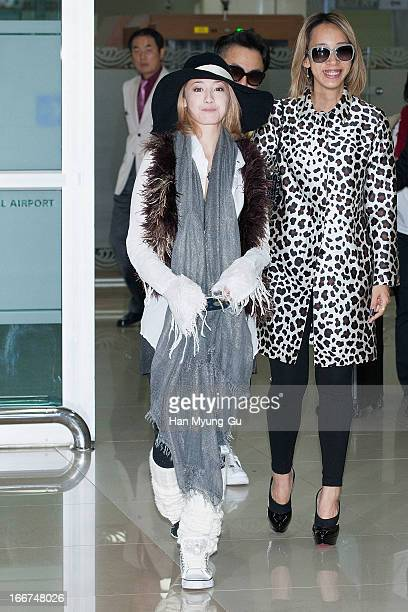 Japanese actress Erika Sawajiri is seen upon arrival from Japan at Gimpo International Airport on April 16 2013 in Seoul South Korea