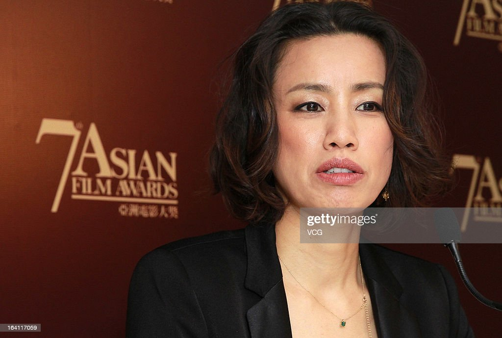 Japanese actress <a gi-track='captionPersonalityLinkClicked' href=/galleries/search?phrase=Makiko+Watanabe&family=editorial&specificpeople=4304200 ng-click='$event.stopPropagation()'>Makiko Watanabe</a> attends a press conference at the 7th Asian Film Awards on March 19, 2013 in Hong Kong.