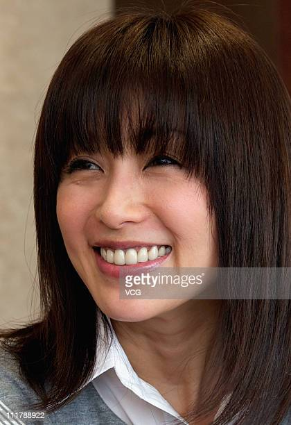 Japanese actress Noriko Sakai talks to the media at the Grand Millennium Hotel on April 6 2011 in Beijing China