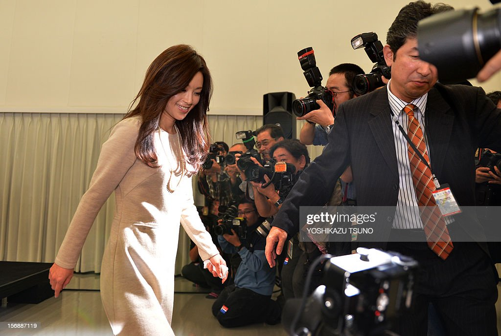Japanese actress Noriko Sakai, well known in Asia especially in China, who was convicted of illegal drug use in 2009, leaves a press conference to come back to the entertainment business in Tokyo on November 24, 2012. Sakai will return to the stage 'Rhapsody of Azure Sky' in Tokyo on Decmber 15 after the expiration of her suspended sentence. AFP PHOTO / Yoshikazu TSUNO