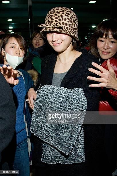 Japanese actress Ryoko Hirosue is seen at Gimpo International Airport on January 27 2013 in Seoul South Korea