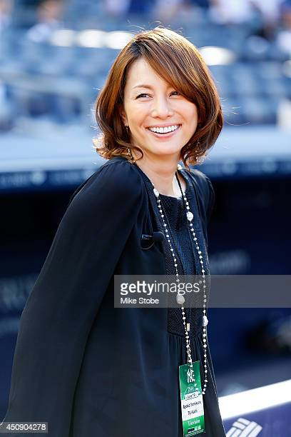 Japanese Actress Ryoko Yonekura looks on during warmups prior to the gama against the Toronto Blue Jays at Yankee Stadium on June 19 2014 in the...