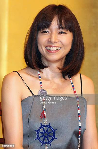 Japanese actress Tomoko Yamaguchi attends the 'Ponyo on the Cliff by the Sea' opening day stage greeting at Hibiya SukaraZa on July 19 2008 in Tokyo...