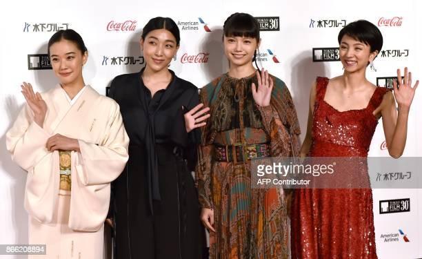 Japanese actresses in 'Japan Now Muse of Japanese Cinema' Yu Aoi Momoko Ando Aoi Miyazaki and Hikari Mitsushima pose in a photo session prior to the...