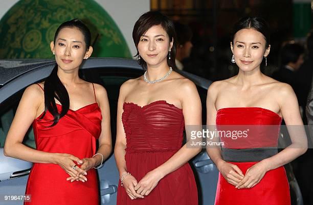 Japanese actresses Tae Kimura Ryoko Hirosue and Miki Nakatani walks on the green carpet during the 22nd Tokyo International Film Festival Opening...