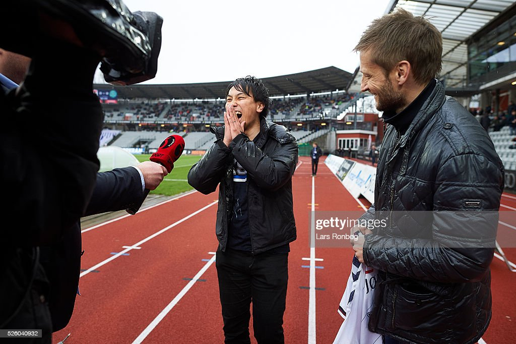 Japanese AGF fan Kousuke Tobe is surprised to see his big idol ex-AGF footballer Martin Jorgensen prior to the Danish Alka Superliga match between AGF Aarhus and Viborg FF at Ceres Park on April 29, 2016 in Aarhus, Denmark.