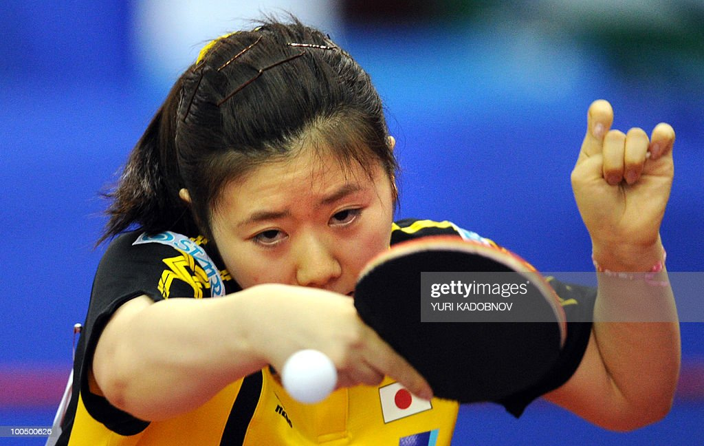 Japanese Ai Fukuhara returns a service to Taiwanese Cheng I-Ching on May 25, 2010 during their match at the 2010 World Team Table Tennis Championships in Moscow.