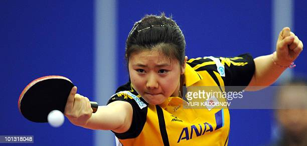 Japanese Ai Fukuhara returns a service to Taiwanese Cheng IChing on May 25 2010 during their match at the 2010 World Team Table Tennis Championships...
