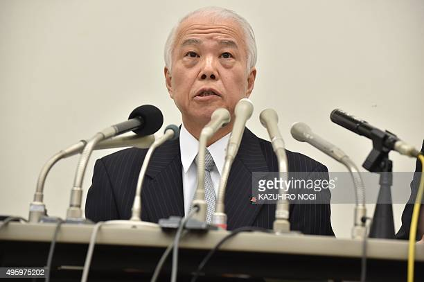 Japanese airbag supplier Takata Corp Chief Financial Officer Yoichiro Nomura answers questions during a press briefing to announce the company's...