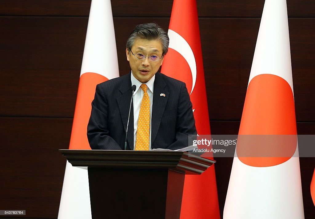 Japanese ambassador to Ankara Hiroshi Oka delivers a speech during press conference about signing a cooperation agreement regarding the foundation of Turkish-Japanese Science and Technology University in Istanbul, in Ankara, Turkey on June 30, 2016.