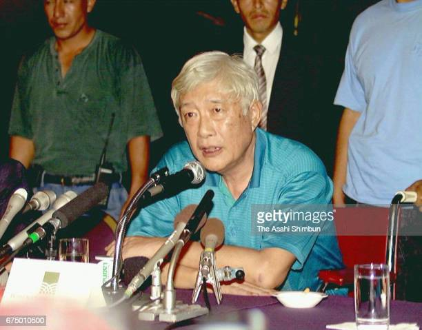 Japanese Ambassador to Peru Morihisa Aoki speaks during a press conference after hostages are released by Peruvian special units burst into the...
