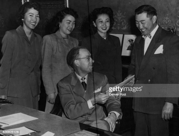 Japanese American Citizens League Acting Gov Walter Johnson is shown as he extended a message of welcome to George Masunaga of the Japanese American...