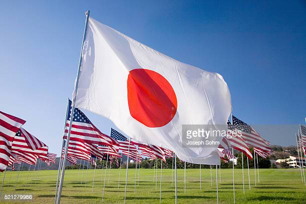 Japanese and Americans flags during 3000 Flags for 9-11 tribute