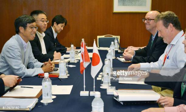 Japanese and Canadian negotiators discuss the TransPacific Partnership trade deal in the hotspring resort of Hakone southwest of Tokyo on July 12...