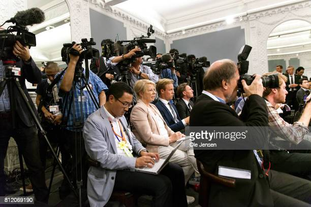 Japanese and Danish media during Japanese Prime Minister Shinzo Abe and Danish Prime Minister Lars Loekke Rasmussen joint press conference at the...