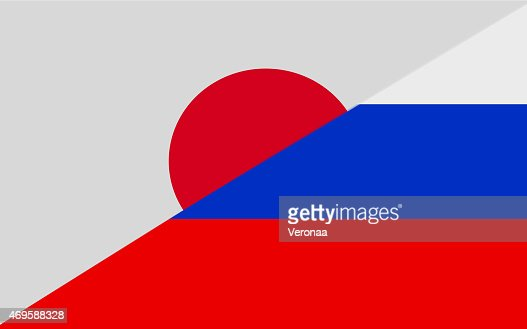 Japanese and  Russian flag