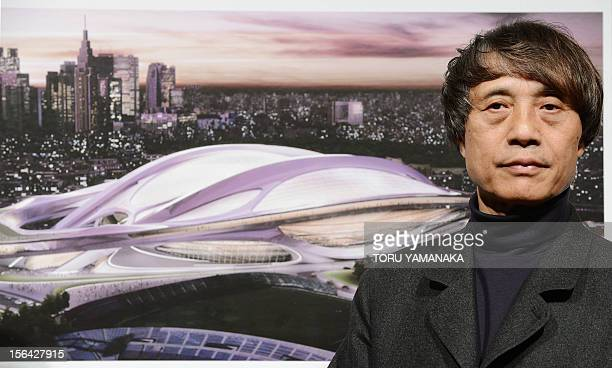 Japanese architect Tadao Ando who is also chairman of the jury for an international design competition of the new national stadium introduces a...