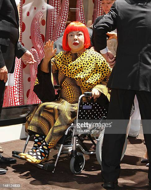 Japanese artist Yayoi Kusama attends the Louis Vuitton and Yayoi Kusama Collaboration Unveiling at Louis Vuitton Maison on Fifth Avenue on July 10...