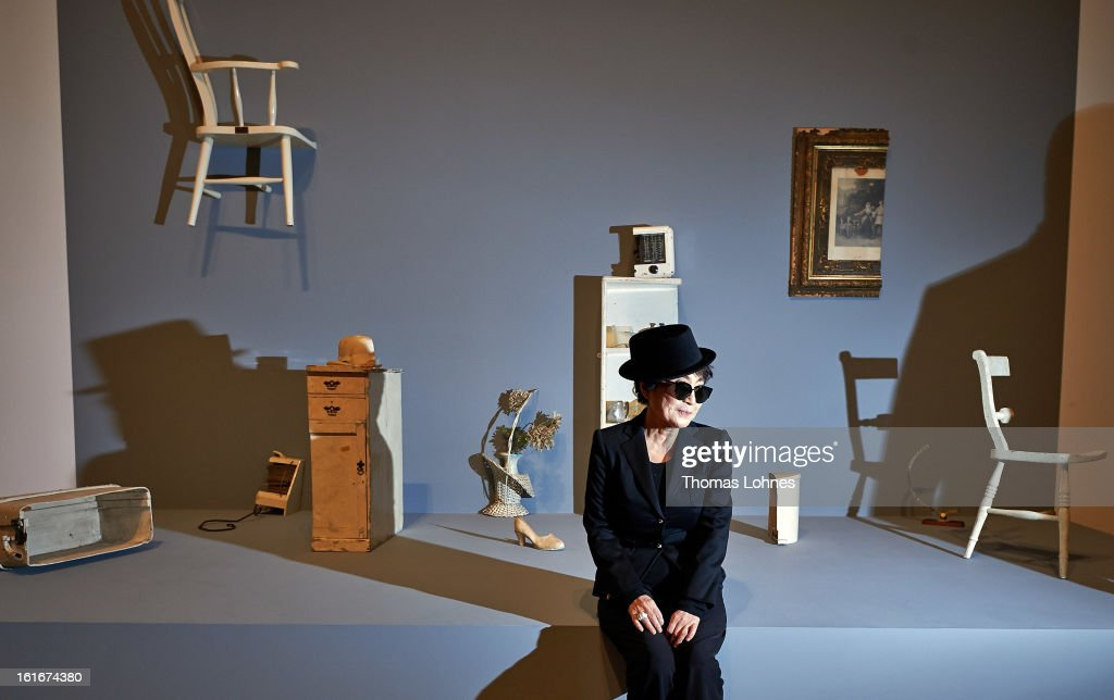 Japanese artist <a gi-track='captionPersonalityLinkClicked' href=/galleries/search?phrase=Yoko+Ono&family=editorial&specificpeople=202054 ng-click='$event.stopPropagation()'>Yoko Ono</a> poses alongside her artwork 'Half A Room' in the Schirn Kunsthalle on February 14, 2013 in Frankfurt am Main, Germany. In honor of Ono's 80th birthday, who was born in Tokyo on February 18, 1933, the Schirn Kunsthalle Frankfurt is presenting an extensive retrospective from February 15 until May 12, 2013 encompassing a representative selection of her works from over the past 60 years.