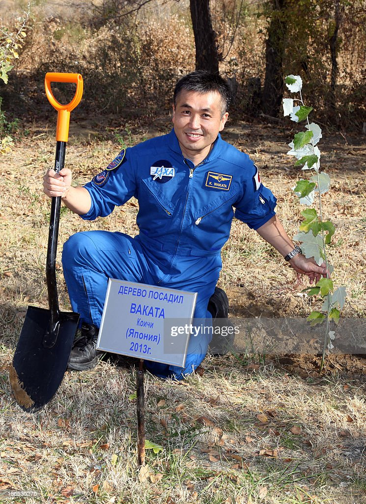 Japanese astronaut Koichi Wakata smiles after planting a tree during a break in the preflight training in the Russian leased Kazakhstan's Baikonur cosmodrome on November 1, 2013. The plate reads: This tree was planted by Koichi Wakata from Japan in 2013. The three-man crew, including Japanese astronaut Koichi Wakata, Russian cosmonaut Mikhail Tyurin and US astronaut Rick Mastracchio, is scheduled to blast off to the International Space Station (ISS) from Baikonur on November 7. AFP PHOTO / STR