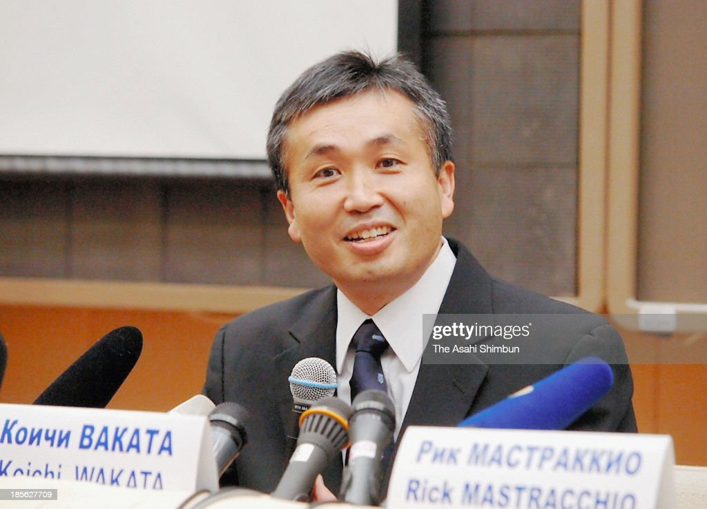 Japanese astronaut <a gi-track='captionPersonalityLinkClicked' href=/galleries/search?phrase=Koichi+Wakata&family=editorial&specificpeople=220363 ng-click='$event.stopPropagation()'>Koichi Wakata</a> speaks during a press conference at Yuri Gagarin Cosmonaut Training Center at Star City, outside Moscow on October 23, 2013 in Moscow, Russia. Wakata is appointed as the commander of Expedition 39 of the International Space Station (ISS), that will launch in November 7.