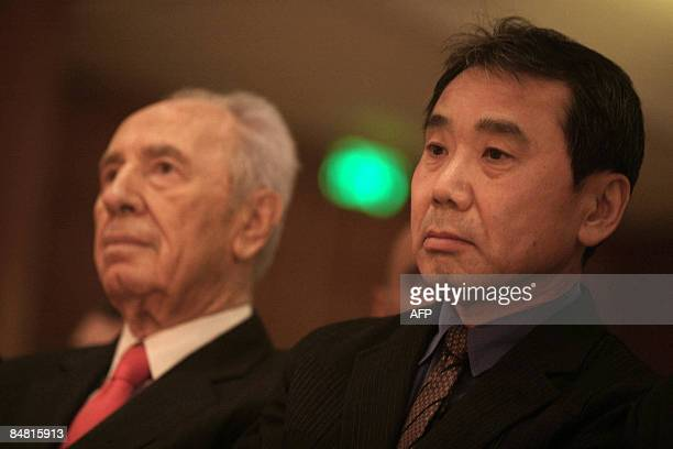 Japanese author Haruki Murakami sits next to Israeli President Shimon Peres during an award ceremony for the 2009 Jerusalem prize for literature in...