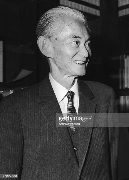 Japanese author Yasunari Kawabata during a courtesy call to UNESCO December 1968 He is returning from the Nobel Prize ceremony in Stockholm where he...