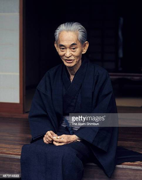 Japanese author Yasunari Kawabata is photographed at his home in October 1968 in Kamakura Kanagawa Japan