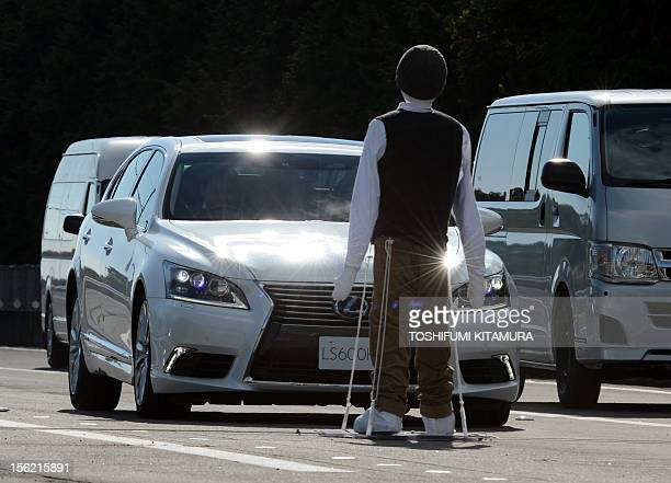 Japanese auto giant Toyota Motors demonstrates its Precollision System pedestrian collision avoidance support at the Higashifuji Technical Centre in...