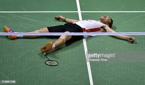 Japanese badminton player Kento Momota in jubilant mood after winning the match against Viktor Axelsen of Denmark at Men's final match during the...