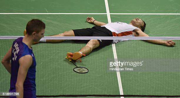 Japanese badminton player Kento Momota in jubilant mood after winning the match against Viktor Axelsen of Denmark at Men's final match during the...