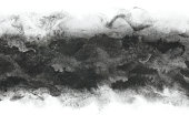 Japanese black ink wavy abstract or vintage paint stroke background