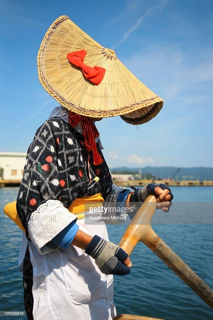 Japanese boat-woman in Sado Island