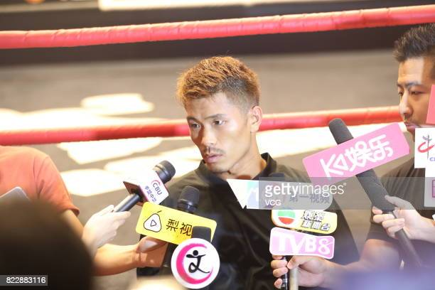 Japanese boxer Sho Kimura receives interviews during a training session ahead of WBO Championship Defending Fight between Zou Shiming and Sho Kimura...