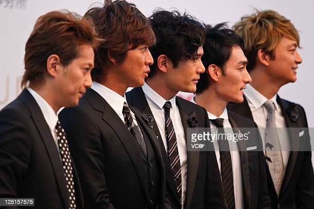 Japanese boy band SMAP attend a press conference ahead of Beijing concert at the Great Hall of the People on September 15 2011 in Beijing China