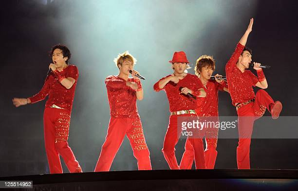 Japanese boy band SMAP perform on the stage at Beijing Concert at Beijing Workers Stadium on September 16 2011 in Bejing China