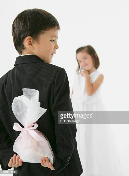 Japanese boy who is going to give girl a gift