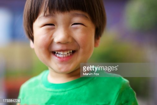 Japanese boy's big smile