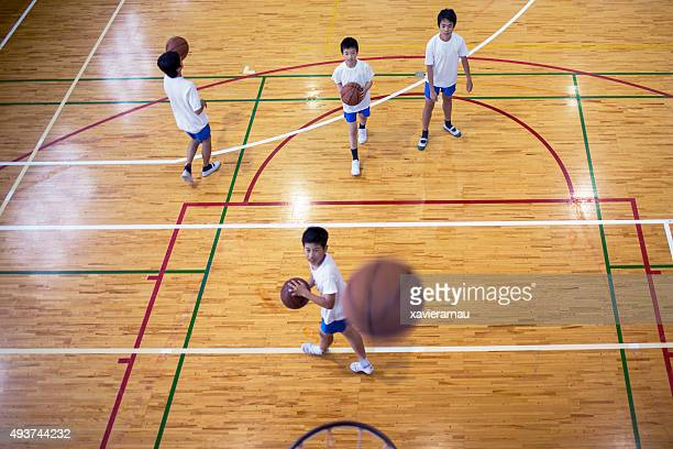Japanese boys playing basketball in the school gymnasium