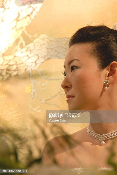Japanese bride at wedding reception, close-up