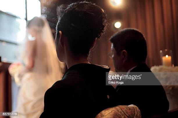 Japanese Bride getting married in church