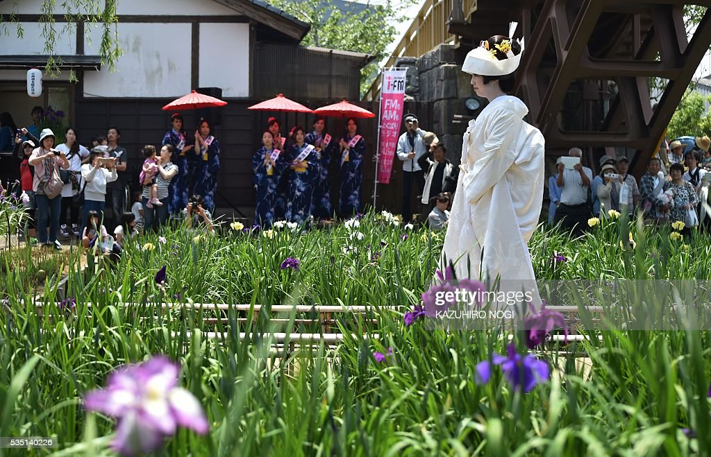 A Japanese bride wearing a pure white kimono walks on a path during her wedding in Itako city, some 80 kilometres northeast of Tokyo, May 29, 2016, as part of the annual Ayame (iris) flower festival. Yomeiri-fune (a boat escorting a bride) and local Japanese entertainment is performed during the festival period. / AFP / KAZUHIRO