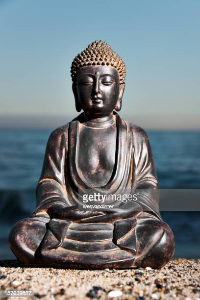 Japanese Buddha Statue at Ocean Shore