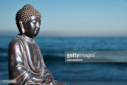 Japanese Buddha Statue at Ocean Shore : Stock Photo