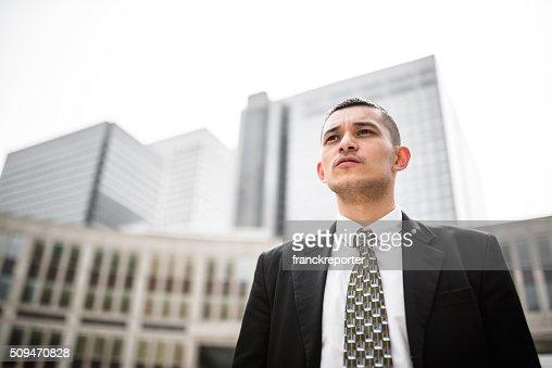 Japanischen Geschäftsmann auf die Stadt : Stock-Foto