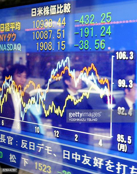Japanese businessmen are seen reflected in the glass of a share price display in downtown Tokyo 18 April 2005 Japanese share prices plunged 43225...