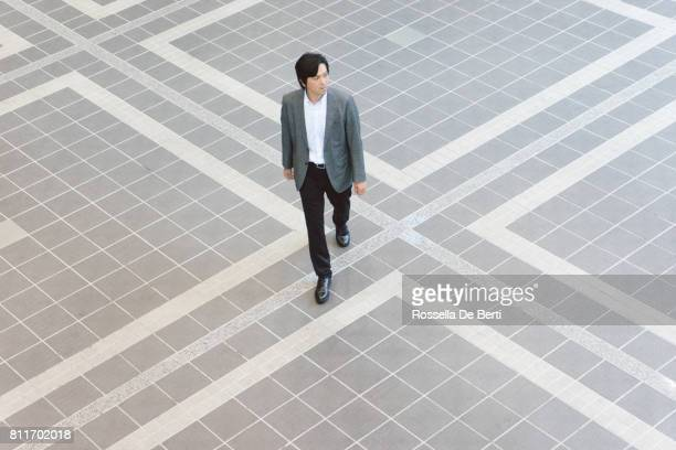 Japanese businessmen walking to the office